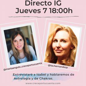 directo de instagram sobre astrologia y chakras en martaangulo_creceportucuenta  isa hernandez astrología